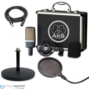 AKG C214 Mic w/ Shockmount, Desktop Stand, Pop Filter & Cable