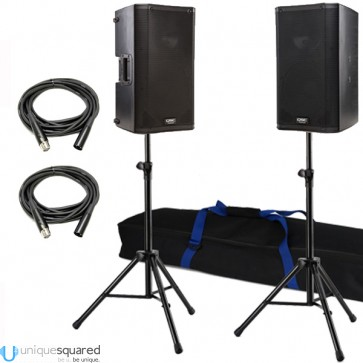 """QSC K12 12"""" Powered 2 Way PA Speaker Pair w/ Stands and Cables"""