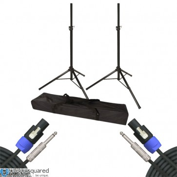 VRT Pro Audio Speaker Stands with Bag w/ Speakon to TRS Cable Pair
