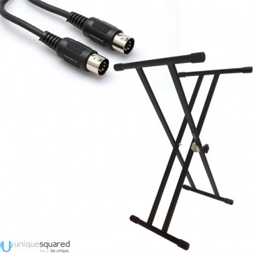 VRT Pro Audio Double Brace Keyboard Stand w/ MIDI Cable
