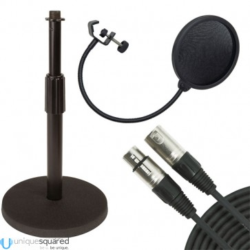 VRT Pro Audio Desk-Top Microphone Stand w/ Microphone Pop Filter & Cable