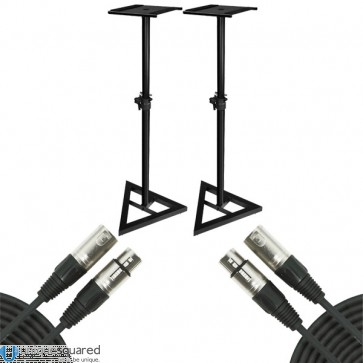 Studio Monitor Pair Stand Height Adjustable w/ 20' XLR Male to Female Cable Pair