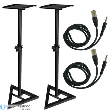 "Studio Monitor Stand Pair Height Adjustable w/ 1/4"" TRS to XLR Cable Pair"