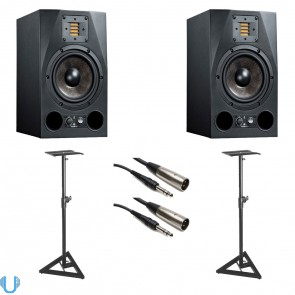 Adam Audio A7X 7 Inch Studio Monitor Pair with Monitor Stands and Balanced Interconnect Cable