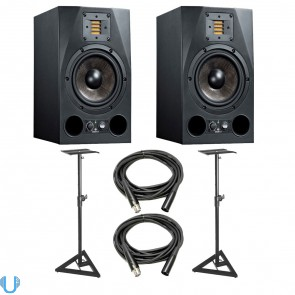 Adam Audio A7X 7 Inch Studio Monitor Pair with Monitor Stands and XLR Cables