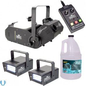Chauvet Hurricane 1800 Fog Machine with Fluid and Mini Strobe Pair