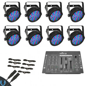 Chauvet SlimPAR 38 (8 Pack) with Obey 3 and DMX Cables