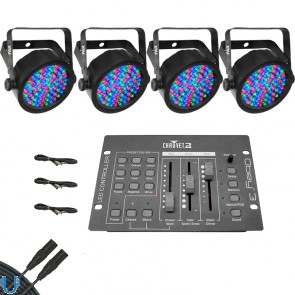 Chauvet SlimPAR 38 (4 Pack) with Obey 3 and DMX Cables