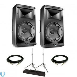 JBL EON612 Pair with Stands and Cables