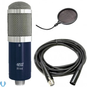 MXL R144 Ribbon Microphone w/ 20 Ft XLR Cable & Pop Filter Screen