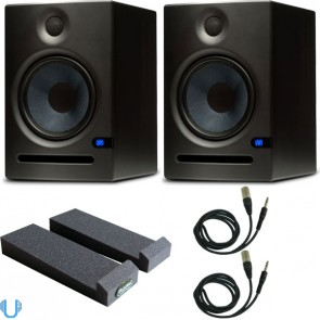 PreSonus Eris E8 Studio Monitor Pair With Auralex MoPads & Cables