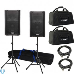 QSC K10 Pair with Stands, Bags, and Cables