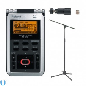 Roland R-05 with Mic Stand and Stand Adapter
