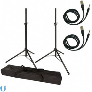 Unique Squared Speaker Tripod Stand Pair with Cables
