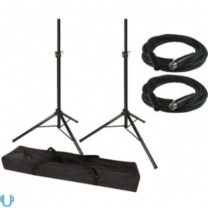 Unique Squared Tripod Speaker Stand Pair with XLR Cable Pair