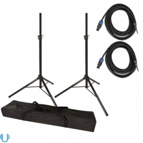 "Unique Squared Tripod Stand Pair with Speakon to 1/4"" Cables"