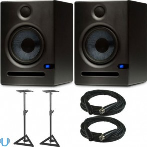 "PreSonus Eris E5 5"" Studio Monitor Pair with Monitor Stand Pair & XLR Cables"