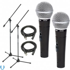 Shure SM58S Pair with Stands and Cables