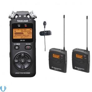 Sennheiser EW 122P G3 Wireless Lav Mic (G Band) with Tascam DR-05 Portable Handheld Recorder
