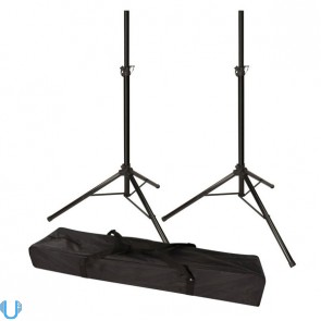 Stagg SPS-0820 Black Tripod Speaker Stand Pair with Travel Bag