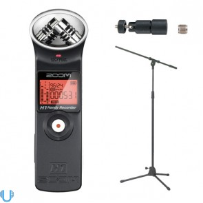 Zoom H1 Handy Recorder With Mic Boom Stand & Adaptor